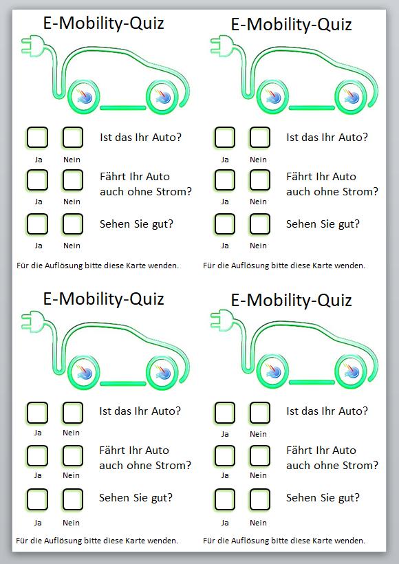 Vorderseite E-Mobility-Quiz